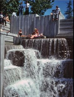 Freeway Park, Seattle, in the 1970s