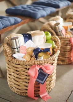 A beautiful basket filled with breakfast fare will have guests feeling grateful after a night spent on the dance floor. wedding favors, destination weddings, wedding welcome bags