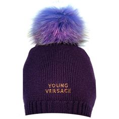YOUNG VERSACE GIRLS PURPLE WOOL KNITTED HAT From www.kidsandcouture.com