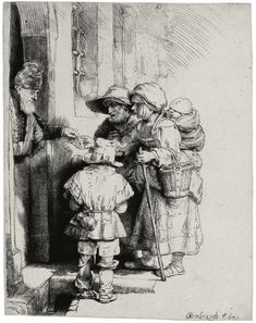 Rembrandt – BEGGARS RECEIVING ALMS AT THE DOOR OF A HOUSE, 1648