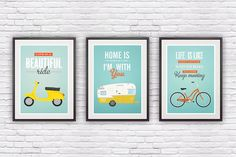 Set of three quote prints, typographic poster, retro, vespa, shasta trailer, bike illustration, motivational print,  wall decor, 8x10, A4. $44.00, via Etsy.
