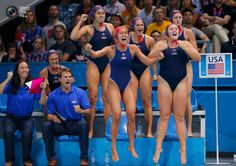 team celebrates a goal during their women's preliminary round Group A water polo match against Spain during the London 2012 Olympic Games at the Water Polo Arena. Nbc Olympics, 2012 Summer Olympics, Usa Water Polo, America Pride, Photo U, Polo Match, Goalkeeper, Olympic Games, Guys And Girls
