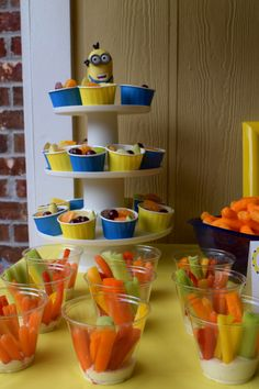Despicable Me Minion Party . Appetizers . Fruit Cups . Veggie Cups .