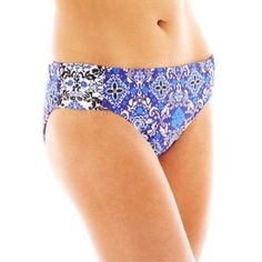 be9dc04e33d7e Details about Liz Claiborne Print Side Sash Damask Hipster Swim Bottoms  Size 6, 10 $44