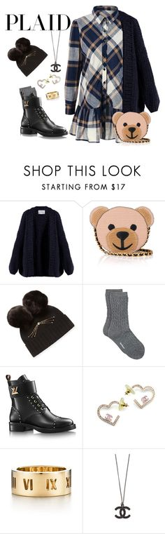 """""""Plaid in the city"""" by ellenfischerbeauty ❤ liked on Polyvore featuring I Love Mr. Mittens, Moschino, Kate Spade, Barbour, Chanel, Tiffany & Co., Blue, plaid, chunkysweater and louisvuittonboots"""
