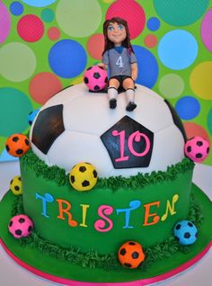 - This is the cake I made today for a little girl who loves soccer. She picked the design of the cake herself including the bright fondant soccer balls. The figure I hand sculpted to look like the birthday girl.