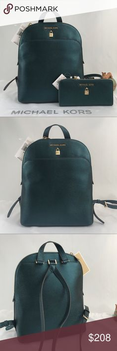 2574add2ae69 NWT Michael Kors Adele Backpack Set Gorgeous set! Unique color! Deep teal  and gold