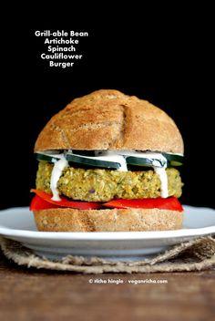 Artichoke Spinach Cauliflower Bean Burgers. Grill-able Vegan Veggie Burger Recipe.   Vegan Richa