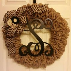 Burlap Wreath - Monogram Wreath - Chevron Wreath - All Year Round Wreath