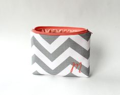 Monogrammed Chevron Cosmetic Bag Personalized by allisajacobs