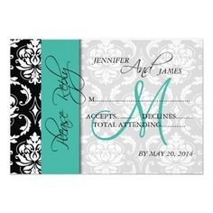 Discount DealsWedding RSVP Card Damask Turquoise Names Initial Personalized InvitesThis site is will advise you where to buy