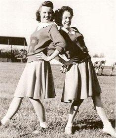 Three cheers for 1940s school spirit! #vintage #cheerleaders #1940s #cheer  #cheerleading