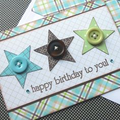Masculine Birthday Card with Matching Embellished Envelope - Plaid Stars