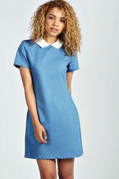 Liza Collar Denim Shift Dress at boohoo.com