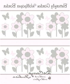 Pink and Grey Gray Butterfly Flower Garden wallpaper border wall art decals for baby girl floral nursery and childrens room decor. Baby Girl Nursery Pink And Grey, Baby Girl Nursey, Floral Room, Floral Nursery, Room Wall Painting, Wall Art, Girls Bedroom Wallpaper, Wall Wallpaper, Brick Patterns Patio