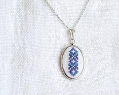 Hand embroidered necklace melange blue by skrynka on Etsy, $21.50