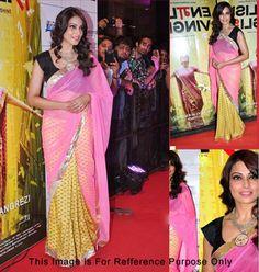 Buy Online Vamika Bipasa Basu Yellow n Pink Georgette Net Bollywood Replica Saree at Best Price in India