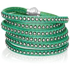 Sif Jakobs Jewellery 90cm Arezzo Green Leather Bracelet with Zirconia (€160) ❤ liked on Polyvore featuring jewelry, bracelets, green, bracelet bangle, studded bracelet, studded wrap bracelet, leather studded bracelet and green jewelry