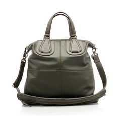 Leather bag with decoration-handles made of leather, logoed and applied on the front like those of the Nightingale in the female version by Givenchy