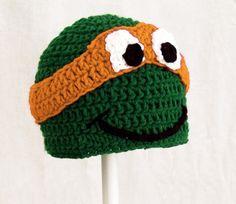 TMNT Hat in Orange, Green Crochet Ninja Turtle Beanie, send size.link to buy. Crochet Hat Earflap, Crochet Baby Hats, Cotton Crochet, Crochet Yarn, Crochet Toys, Knitted Hats, Loom Patterns, Embroidery Patterns, Knitting Patterns
