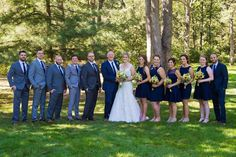 Mismatched gray groomsmen suits, mismatched navy bridesmaid dresses, sunflowers and navy blue, Kilbuck Creek Wedding Turquoise Bridesmaid Dresses, Bridesmaid Outfit, Blue Wedding Dresses, Wedding Suits, Yellow Wedding, Wedding Groom, Wedding Attire, Party Dresses