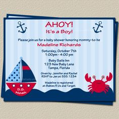 Ahoy Its a Boy Nautical Theme Baby Shower Invitations with Sailboat and Whale, FREE Shipping, Set of 10 Invites and Envelopes. $7.00, via Etsy.