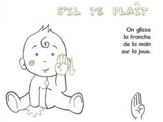 Learn to sign with Baby - L& apple workshop - - Learn To Sign, French Signs, Workshop, Baby L, Sign Language, Vocabulary, Happy, Fictional Characters, Peanuts Comics