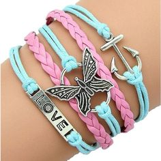 Braided Butterfly Anchor Love Leather Bracelets Pink Blue Leather Rope... ($6.67) ❤ liked on Polyvore