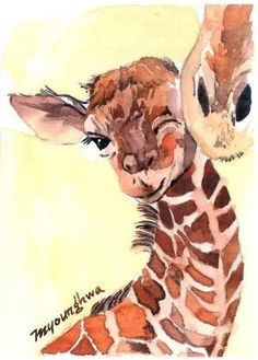 ACEO Limited Edition - Baby giraffe, in watercolor by lola