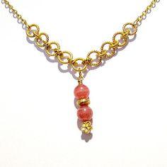 Pink Necklace Yellow Gold Jewelry Rhodochrosite by jewelrybycarmal, $95.00