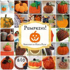 "Original pinner said, ""Fiber Flux...Adventures in Stitching: Pumpkins! 25 Free Crochet Patterns..."