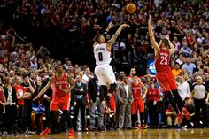 Damian Lillard's game winning shot with 0.9 s on the clock. Clutch three wins the game and series in the 2013-2014 NBA playoffs round one.