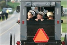 Amish children in buggy