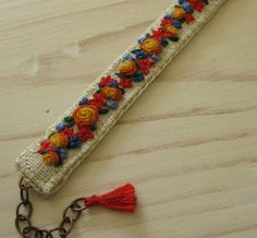 Colorful Floral Hand Embroidered Cuff Bracelet