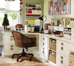 American classic home office by Pottery Barn. At once workspace, craft central and inspiration zone, this home office is the perfect blend of function and fun. Home Office Design, Home Office Decor, Home Decor, Office Ideas, Office Furniture, Desk Ideas, Office Designs, White Furniture, Office Chairs