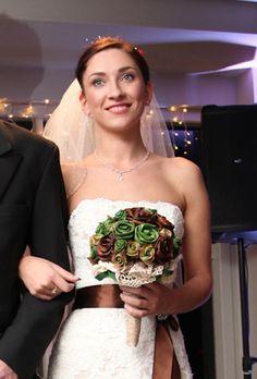 Earthy Vintage flax flowers by Artiflax    Wedding dress by Astra Bridal