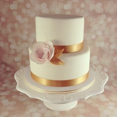 Gold, ivory and blush wedding cake with wafer paper ranunculus  Sweetonyoucakes.ca