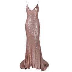 Honey couture kristy rose gold low back bow sequin formal gown dress ($269) ❤ liked on Polyvore featuring dresses, gowns, white sequin gown, white formal dresses, white formal gowns, long white skirt and white maxi skirt