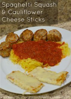 Spaghetti Squash and Cauliflower Cheese Sticks {Recipes} PALEO, Gluten free, healthy eating, CLEAN eating