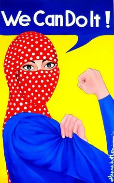 (I think the symbol of a strong woman combined with Islamic beliefs and culture TOTALLY COMPELLING!) via Hip Hop Hijabis Ww2 Posters, Pop Art Posters, Art Disco, Easy Art For Kids, Canvas Art, Canvas Prints, Art Prints, Rosie The Riveter, We Can Do It