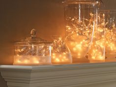 Make a Set of Festive Glass Light Containers - includes instructions on cutting through the glass