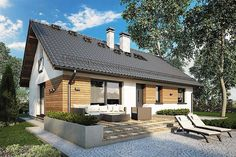 Tani w budowie, mały parterowy dom ze strychem. Facade House, My House, Gazebo, Shed, Villa, Home And Garden, Cottage, Exterior, Outdoor Structures