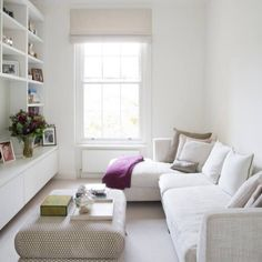 51+ Apartment Decorating Living room Ideas and Inspiration - White narrow minimalist small livng room by Juliette Byrne