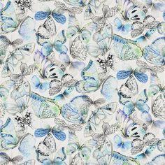 Papillons Cobalt Fabric   Designers Guild