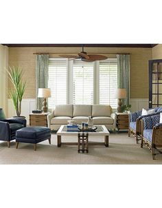 Twin Palms Coconut Grove Leather Sofa in Ivory by Tommy Bahama
