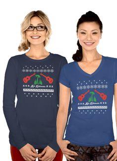 "Ugly Christmas tee with ukuleles, palm trees, christmas trees, and fishies. ""Mele Kalikimaka is the thing to say on a bright Hawaiian Christmas Day"""