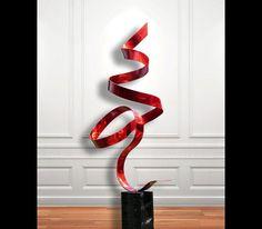 Red Perfect Moment metal sculpture by Jon Allen
