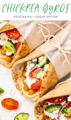 These chickpea gyros are an unbelievably good vegetarian version of the Mediterranean classic. Spiced chickpeas stuffed in soft pita with a delicious tzatziki sauce, fresh tomato, & cucumbers. Made in about 30 min. Vegan option. #gyro #vegetarian #greek Healthy Meals To Cook, Healthy Eating Recipes, Vegetarian Recipes, Cooking Recipes, Healthy Food, Vegetarian Dinners, Healthy Lunches, Yummy Recipes, Quick Vegetarian Dinner
