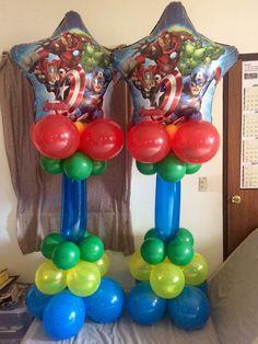 Avengers balloon column.