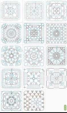 Crochet Blocks, Granny Square Crochet Pattern, Crochet Diagram, Crochet Chart, Crochet Squares, Love Crochet, Crochet Blanket Patterns, Crochet Motif, Crochet Flowers